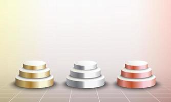 Set di palcoscenici 3d di oro, argento e bronzo