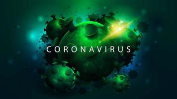poster scuro con grandi molecole di coronavirus verde