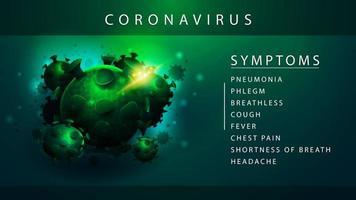 poster informativo verde sui sintomi del coronavirus vettore