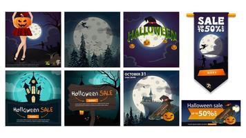 grande set di manifesti di halloween e striscioni di vendita vettore