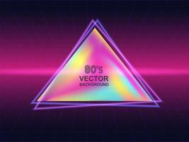 Design a triangolo al neon degli anni '80 vettore