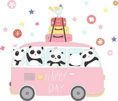 simpatici panda che viaggiano in vacanza