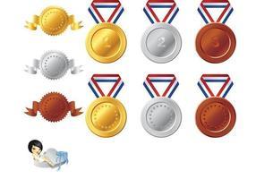 Pacchetto di elementi di vettore di medaglia
