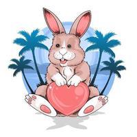 Coniglio estivo tenendo amore design vettore