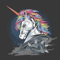 unicorno dal design punk jacket vettore