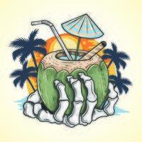 mano di scheletro che tiene bevanda tropicale vettore