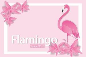 fenicotteri su sfondo rosa con cornice bianca vettore