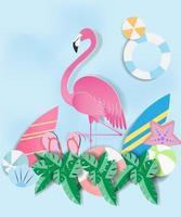 fenicottero rosa in carta con oggetti estivi