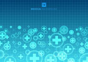 sfondo di medicina e scienza medica astratta forma geometrica croce vettore