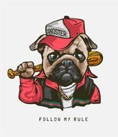 '' segui le mie regole '' con il cane pug in costume da gangster vettore