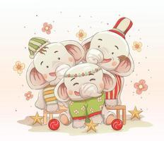 famiglia elefante carino festeggia il Natale insieme
