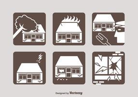 Icone di vettore di assicurazione di proprietà