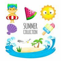 collezione di elementi estivi con gelato e altro ancora vettore