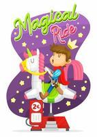 principe cavalcando macchina unicorno
