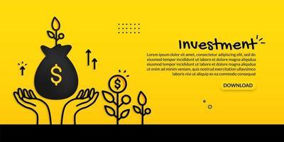 mani che tengono la borsa dei soldi su giallo vettore