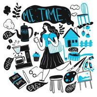 donna disegnata a mano con oggetti della vita quotidiana