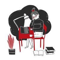 giovane donna disegnata a mano che si siede e che lavora al computer portatile vettore