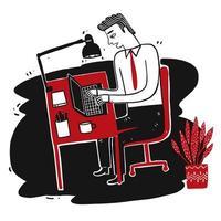 uomo d'affari disegnato a mano che lavora al computer portatile