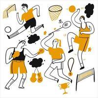 disegnati a mano persone che giocano a calcio, basket e altro ancora