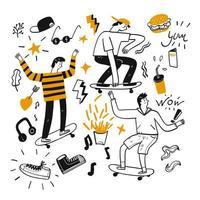 elementi di gioventù e skateboard disegnati a mano