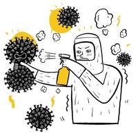 uomo disegnato a mano in tuta spruzzando virus