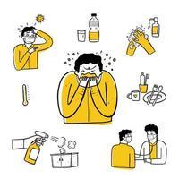uomo malato disegnato a mano e set di elementi di igiene