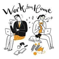 disegnati a mano persone che lavorano e fanno hobby