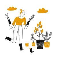 giovane donna felice disegnata a mano che fa il giardinaggio a casa