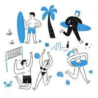 persone disegnate a mano sulla spiaggia vettore