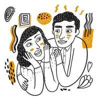 Ritratto di coppia felice disegnata a mano
