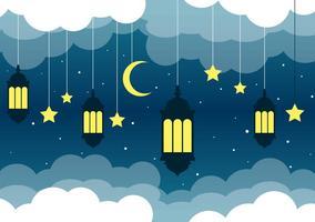 Sfondo di notte di lanterna araba