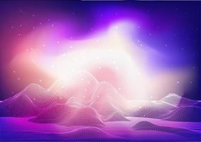 progettazione astratta del paesaggio del wireframe con la galassia vettore