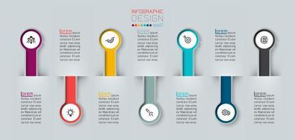 infografica con etichette 3d mezzo cerchio lungo