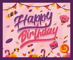 banner di buon compleanno, con dolci vettore