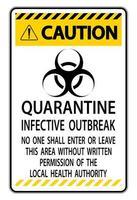 segno di focolaio infettivo di quarantena