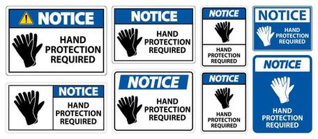 set di segni richiesti per la protezione delle mani