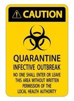 segno di epidemia infettiva di quarantena '' attenzione '' giallo, nero