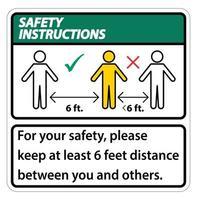 istruzioni di sicurezza per tenere separati 6 piedi vettore