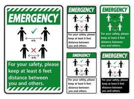 """set di """"emergenza"""" verde mantenere una distanza di 6 piedi vettore"""