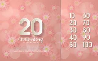 figure di celebrazione di sfondo con numeri bianchi su un fiore rosa