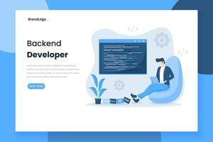 pagina di destinazione dello sviluppatore backend design piatto vettore