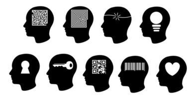 insieme dell'icona della testa di psicologia e affari vettore