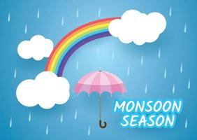design stagione dei monsoni con ombrello sotto l'arcobaleno