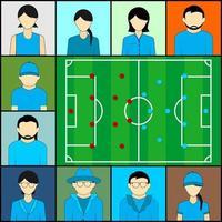 squadra blu a guardare il calcio in teleconferenza video vettore