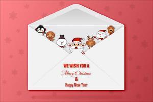 personaggi di Natale in busta sul motivo a stelle rosso vettore