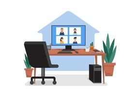 home office per il lavoro dal design domestico vettore