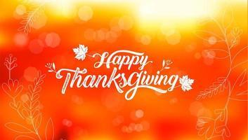 tipografia di ringraziamento felice su bokeh arancione