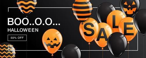 banner di vendita di halloween boo con palloncini su nero vettore