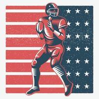 gettando il giocatore di football americano sopra la bandiera americana