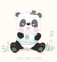 Panda seduto con la macchina fotografica